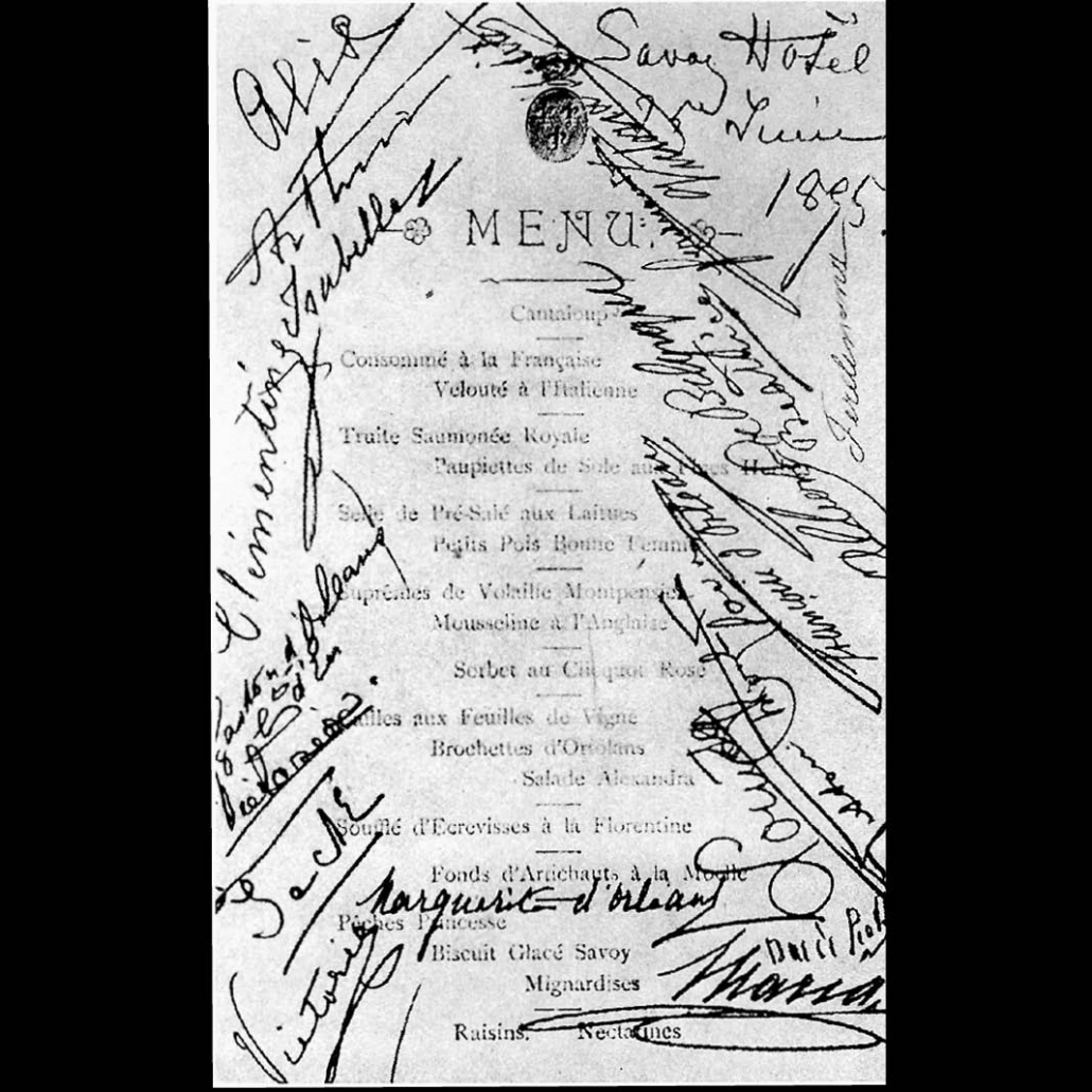 """The menu from the hotel """"Savoy"""" in London, dated June 25th 1885, with the signatures of famous guests such as the future Belgian King Albert I."""