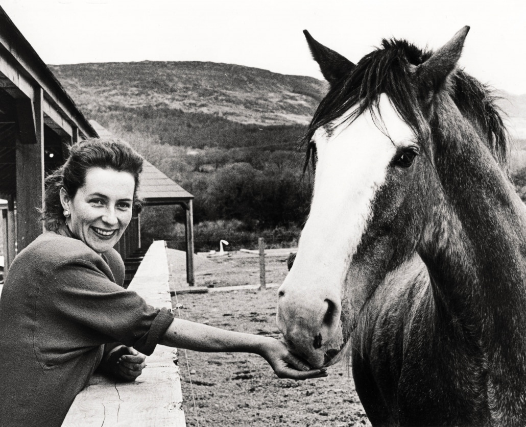 Deidre with Dick the clydesdale horse - Harvey's Point - Our Story