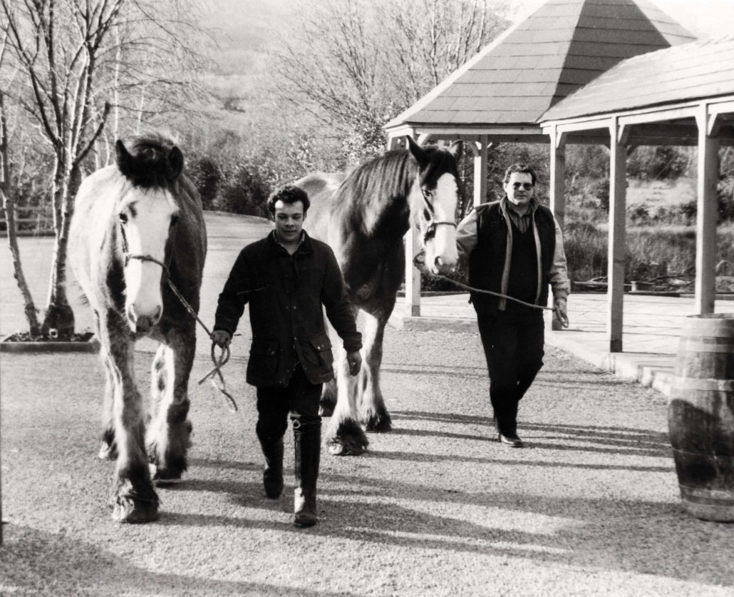 Jody & Marc with clydesdale Dick & John - Harvey's Point - Our Story