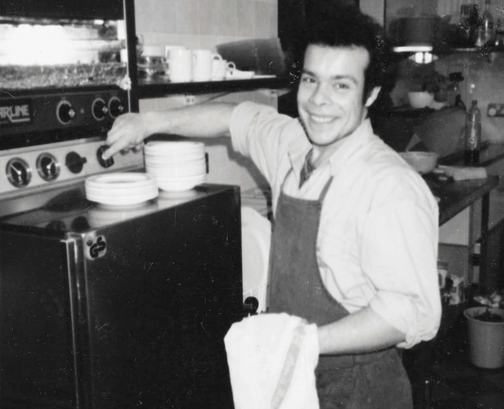 Marc starting at the dishes - Harvey's Point - Our Story
